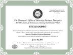 Certified by the Tennessee Governors Office of Diversity Business Enterprise